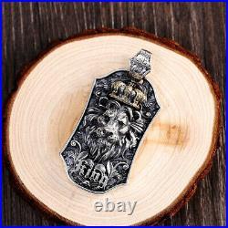 Men's Real Solid 925 Sterling Silver Pendants Lion King Crown Carved Pattern