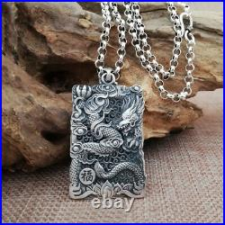 Men's Real Solid 999 Sterling Silver Pendants Jewelry Dragon Animal Fashion