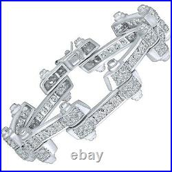 Men's Real Solid Sterling Silver. 925 Iced CZ Stones Hip Hop Bracelet 8 9 Inches