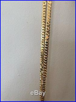 Men's Shiny 7mm Flat Miami Cuban Chain 14k Gold Over Solid 925 Sterling Silver