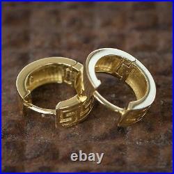 Men's Small Solid Gold 925 Sterling Silver Clip On Greek Key Hoop Earrings