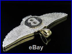 Men's Solid 10K Yellow Gold Finish Diamond Bentley B Wings Pendant Charm 2.10 CT