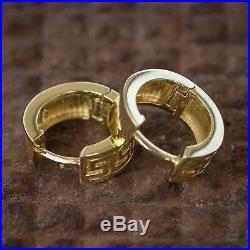 Men's Solid 14k Gold Plated Sterling Silver Small Greek Key Hoop Huggie Earrings
