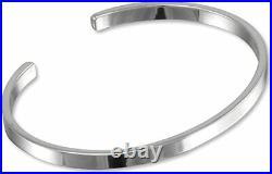 Men's Solid 925 Sterling Silver Bangle Plain Silver Cuff Bracelet for Men