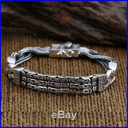 Men's Solid 925 Sterling Silver Bracelet Link Chain Well Stripe Jewelry