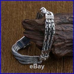 Men's Solid 925 Sterling Silver Bracelet Link Chain Well Stripe Jewelry Chain