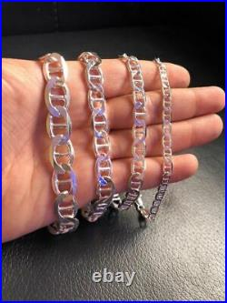 Men's Solid 925 Sterling Silver Mariners Flat Anchor Link Bracelet MADE IN ITALY