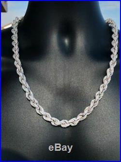 Men's Solid 925 Sterling Silver Men's Rope Chain Thick 9mm ICY Diamond Choker