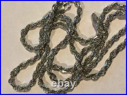 Men's Solid 925 Sterling Silver Rope Chain 3mm 4mm 5mm 20-30 ITALY WHOLESALE