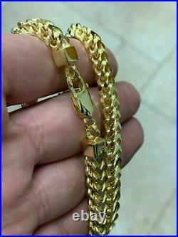 Men's Woman 4.5mm Franco Foxtail Chain 14kt GOLD Over Solid 925 Sterling Silver