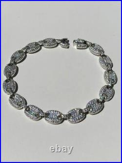 Men's Women's 8mm Gucci Link Bracelet Solid 925 Sterling Silver 5ct Diamond ICY