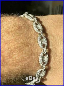 Mens 10mm Puffed Gucci Link Bracelet Real Solid 925 Sterling Silver Diamond ICY