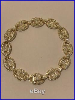 Mens 12mm Gucci Link Bracelet 14k Gold Over Solid 925 Sterling Silver Diamond