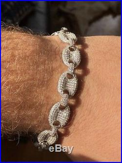 Mens 12mm Gucci Link Bracelet 14k Solid 925 Sterling Silver 12ct Lab Diamond ICY