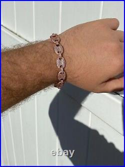 Mens 12mm Gucci Link Bracelet Solid 925 Sterling Silver 14k Rose Gold Finish ICY