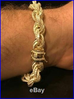 Mens 12mm Rope Bracelet 14k Gold & Real Solid 925 Sterling Silver 25ct Diamonds