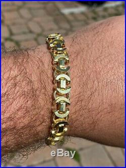 Mens 14k Gold Over Real Solid 925 Sterling Silver Byzantine Tigers Eye Bracelet