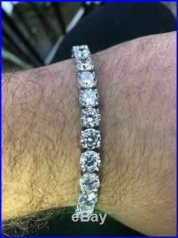 Mens 15 Ct VVS1 Diamond Single Row Tennis Bracelet Solid 14K White Gold Over 8