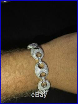 Mens 18mm Puffed Mariner Gucci Link Bracelet Real Solid 925 Sterling Silver 9