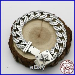 Mens 925 Solid Silver Heavy Big Thick Biker Chain Multi Star Shape Curb Bracelet