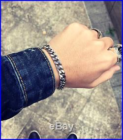 Mens 925 Solid Sterling Silver Heavy Curb Link Rock Biker Fashion Chain Bracelet