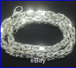 Mens Byzantine Kings Chain Necklace 10mm 335GR 26Inch 925 Sterling Silver Solid