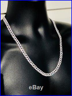 Mens Cuban Miami Link 9mm Chain Solid 925 Sterling Silver 25ct Lab Diamonds Gold