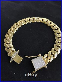 Mens Cuban Miami Link Diamond 9 Bracelet 14k Yellow Gold Over Solid Silver 12mm