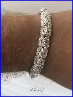 Mens Custom Chainmaille Byzantine Link Bracelet Solid 925 Sterling Silver 8.5