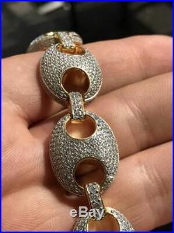 Mens Gucci Link Bracelet 14k Gold Over Real Solid 925 Sterling Silver 18mm Iced
