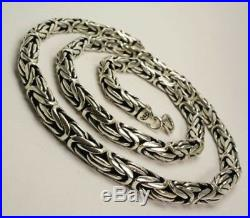 Mens King Byzantine Chain Necklace Solid 925 Sterling Silver 7mm 26 Inch 147GR