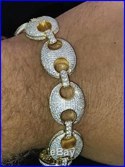 Mens Mariner Gucci Link Bracelet 14k Gold Over Real Solid 925 Sterling Silver