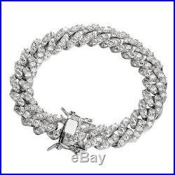 Mens Miami Cuban Bracelet REAL Solid 925 Sterling Silver Iced CZ Heavy Link 75g
