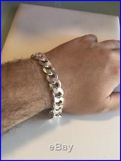 Mens Miami Cuban Link Bracelet Solid 925 Sterling Silver 8.5 14mm 53 Gram ITALY