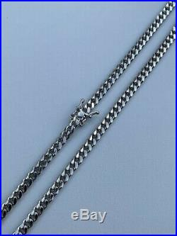 Mens Miami Cuban Link Chain Real Solid 925 Sterling Silver Box Lock Necklace 5mm