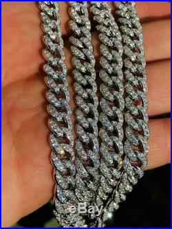Mens Miami Cuban Link Chain Solid 925 Sterling Silver 25ct Lab Diamonds 9mm