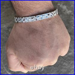 Mens Nugget Hip Hop Bracelet Real Solid 925 Sterling Silver 8.5 x 8 MM Thick
