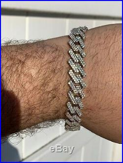Mens Prong Miami Cuban Bracelet 8.5 Solid 925 Sterling Silver 12mm Bust Down