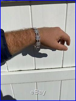 Mens Real Solid 925 Silver Baguette Tennis Bracelet Iced Thick Flooded Out 16mm