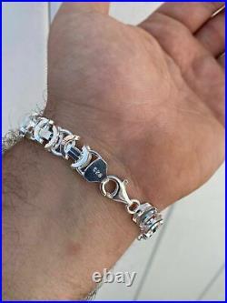 Mens Real Solid 925 Sterling Silver Byzantine Tigers Eye Bracelet 12mm 39 Grams