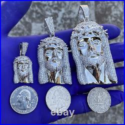 Mens Real Solid 925 Sterling Silver Cleft Beard Jesus Iced CZ Micro Pave Pendant