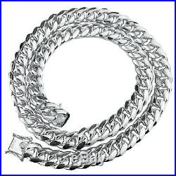 Mens Real Solid 925 Sterling Silver Miami Cuban Chain Heavy Necklace 24 x 12 mm