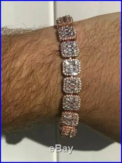 Mens Rose Gold Over Real Solid 925 Silver Baguette Tennis Bracelet Flooded Out