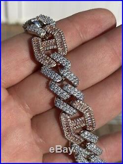 Mens Solid 925 Silver & Rose Gold Baguette Cuban Gucci Link Bracelet Hip Hop ICY