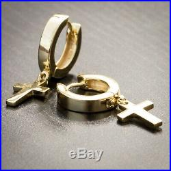 Mens Solid Gold Plated Sterling Silver Cross Dangle Hoop Huggie Earrings Rc4