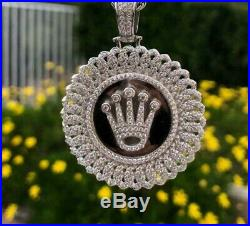 Mens Solid Real. 925 Silver Italy Ice Out 2.5ct Lab Diamond Crown Pendant Iced