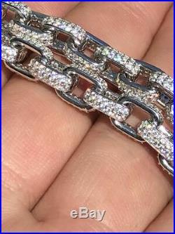 Mens Super Icy Custom Rolo Link Bracelet Solid 925 Silver Man Made Diamonds 6mm