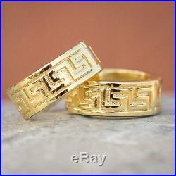 Mens Top quality 14K Gold Sterling Silver Solid Greek Key Hoop Earrings