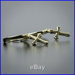 Mens Yellow Gold Sterling Silver Cross Solid Drop Dangle Huggie Hoop Earrings