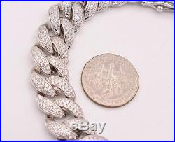 Miami CUBAN Curb CZ Iced Out Link Bling BRACELET Real Sterling Silver 925 Solid